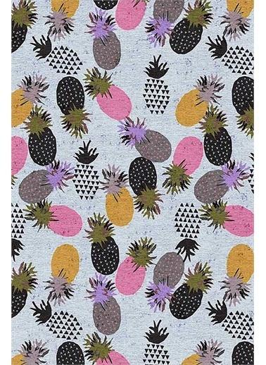 Frenda Frenda Home Ananas Desenli Kaymaz Deri Taban Halı Pembe